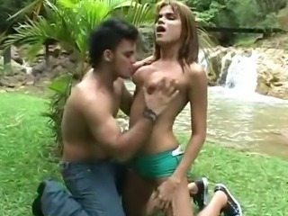 Sexy Shemale Barebacking with the Nature