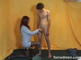 Mistress aims to shoot cum in the bucket free