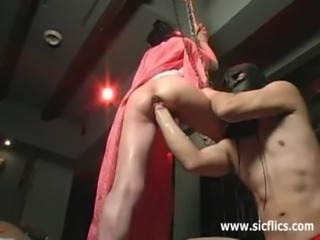 Fist fucking the slaves oozing loose cunt free