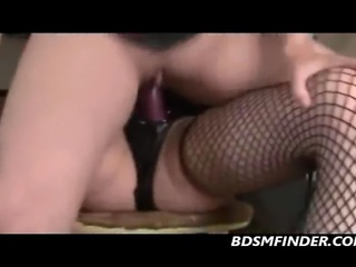 Femdom lesbians in corsets dominate with strapon dildos