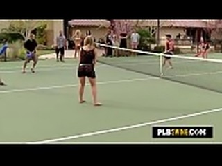 Swinger wives interact in a funny game