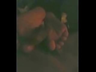 First time reverse footjob (black toe nail)