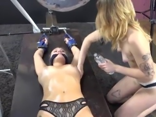 Cute Blonde Cuffed, Gagged and Has Pendulum Lowered on Her