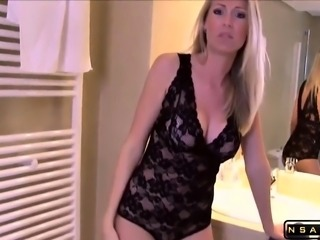 Very hot blondie milf jerking a guy of with a messy cumshot