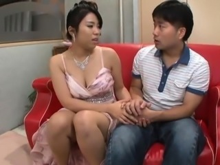 Busty Japanese mom gets her hairy cunt devoured and fucked