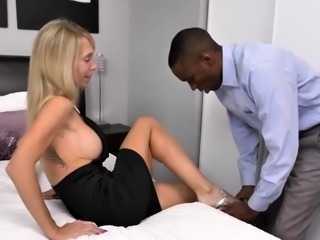 Busty blonde mom uses a big black cock to reach her climax