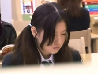 Pigtailed Asian teen fucked by an older guy in the library