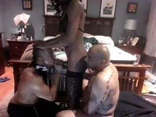 Stunning ebony shemale joins two wild boys for a threesome