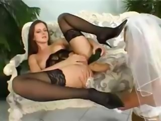 Sandy and Sandra, a hot lesbian bride and her gal pal use a strapon, fists...