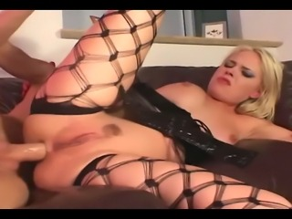 Blonde fucking in latex gloves and thigh high fencenet stockings