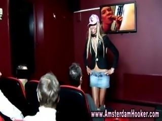 Hot blonde hooker striptease