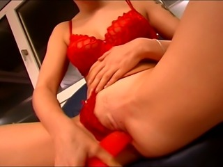 Horny blond MILF sucks cock while teasing her wet naughty twat with a red...