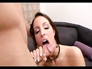 Horny brunette gives her pussy on couch