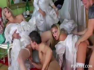Gangbang with brides fucking shafts