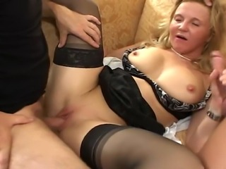 Busty MILF slut gets double teamed and sandwiched in this wild double...