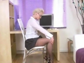 Hot blonde cougar Natalie fingers her Anilos pussy for solo orgasm during her...