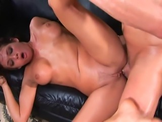 Beautiful brunette loves giving a blowjob and having anal sex