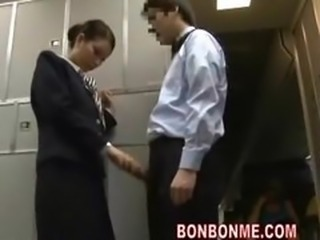 Brunette stewardess fucked by passenger