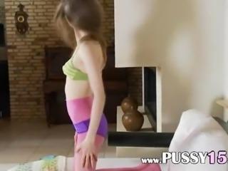 Drunk girl in purple nylon pantyhose