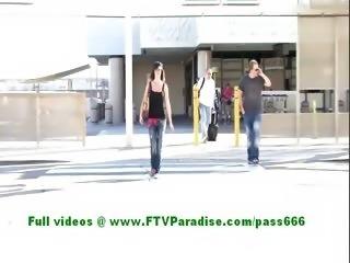 Esterella cute brunette girl flashing her tits in a public place