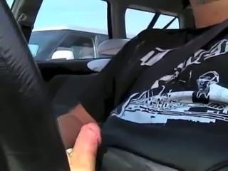 Amazing car flash! Woman watches me till I cum