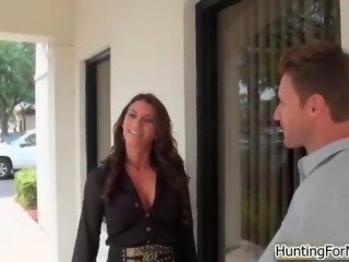 Sexy brunette milf with a hot outfit