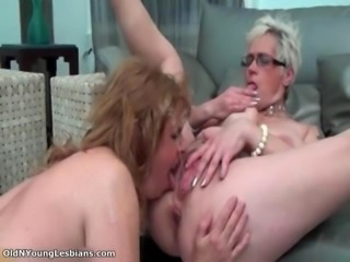 Old perverted lesbian is licking wet