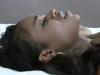 Cute black girlfriend moans as she gets it