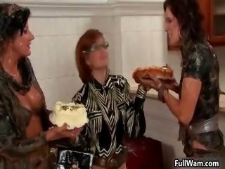 Three horny lesbian babes having