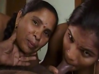 Two Indian Girls Suck Cock