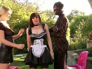Three BDSM bitches Ruby Rubber, Samantha Bentley and Tegan Jane having rude...