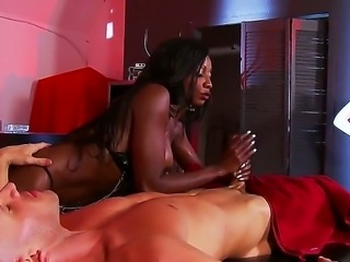 Lucky guy Johnny Sins gets a little bit of sexy black babe Diamond Jackson...