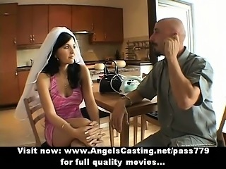 Amateur stunning brunette bride nice talking with a big guy