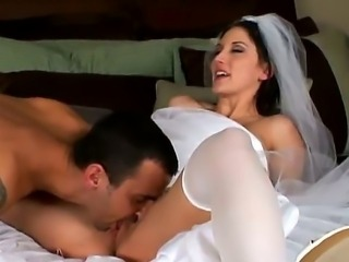Amazingly pretty bride Mindy Main cant wait and fucks her fiance James Cohen...