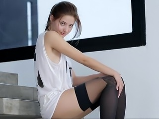 Sweet Anna teasing and taking her panties off