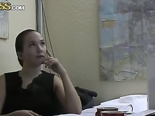 Attractive slim innocent looking brunette secretary