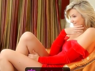 Long legged blonde Elisa A in hot and sexy red dress getting hotly excited...