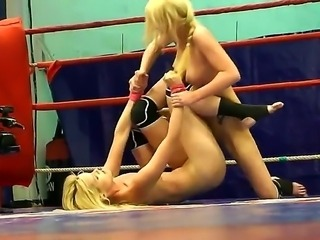 Amazing lesbian are fighting with each other ripping every cloth of their hot...