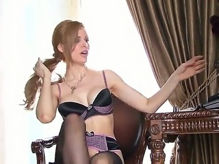 Excellent milf with round big boobs Candle Boxxx fingering her trimmed pussy...