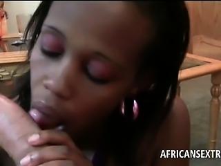 POV petite african babe sucking white monster pecker