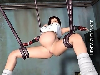 Hentai slave in tentacles take dick