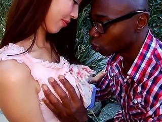 Look at beautiful Asian arousing babe Marica Hase sucking big schlong outdoor