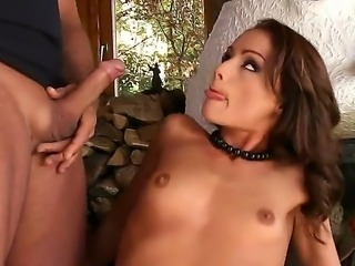 Look at delightful steamy brunette whore Sophie Lynx pleasuring two cocks at...