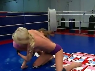 The femdom on the boxing ring is something out of place. The bitches Ava and...
