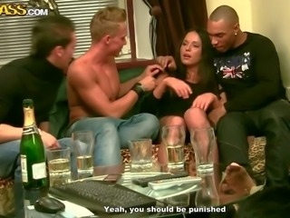 Young brunette on booze Natalie gets attacked by three hard