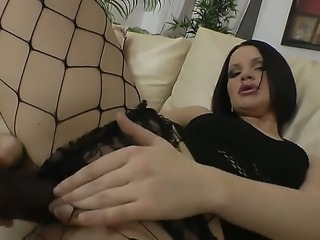 Brunette hottie Romana is having her tight ass drilled in nasty anal hardcore