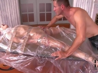 Leyla Black is a helpless wrapped up cutie that gets her pink tight pussy...