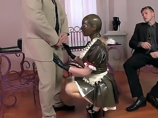 Attractive tempting and submissive blonde pornstar Latex Lucy with bouncing...