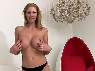 Attractive blonde hottie Leigh Darby strips out of her black lingerie...