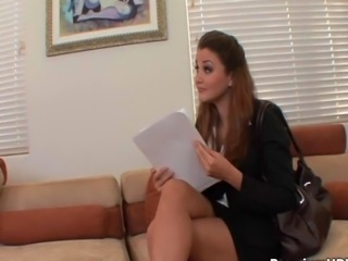 Beautiful secretary with round ass Allie Haze gets laid and cummed by her boss